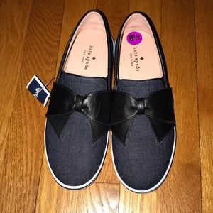 Kate spade denim and leather bow shoes